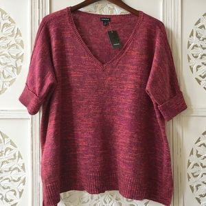 Torrid Red/Pink Short Sleeved Sweater, NWT!